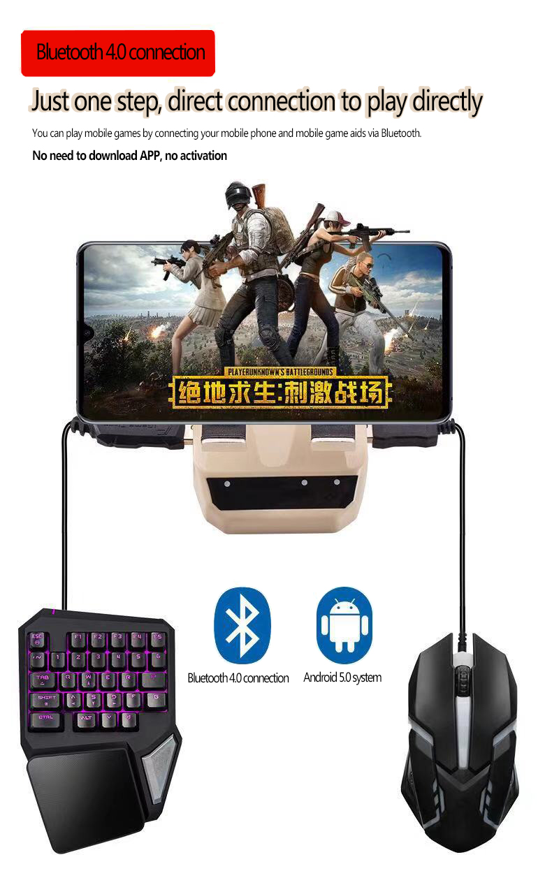 D9 Bluetooth4 0 Keyboard Mouse Converter Station with Phone Holder Gamepad  for PUBG Mobile Game for Smartphone