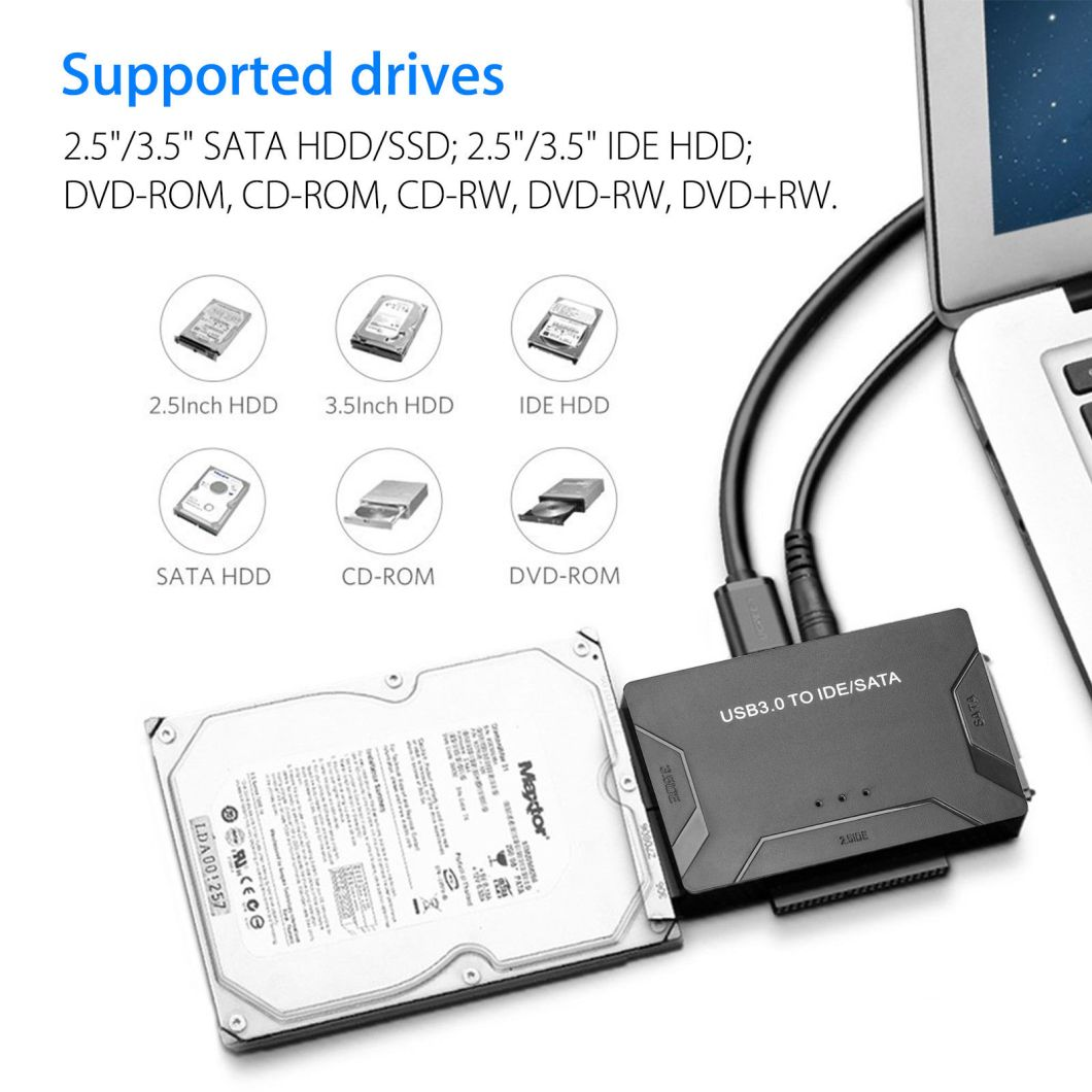 USB 3.0 to IDE + SATA HDD SSD Hard Drive Converter Cable Adapter for 2.5 3.5inch Hard Disk 29