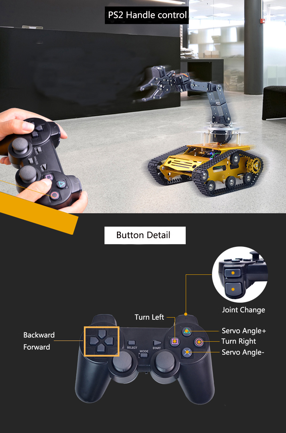 XIAO R Avatar Raspberry Pi 3B+ DIY 6DOF Metal RC Robot Arm Car Programmable  APP PS2 Handle Control