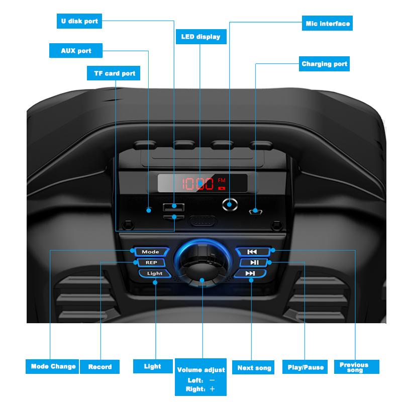 Bakeey Wireless Bluetooth Speaker Kalaoke Colorful Light Stereo TF Card FM Radio Portable Speaker 17