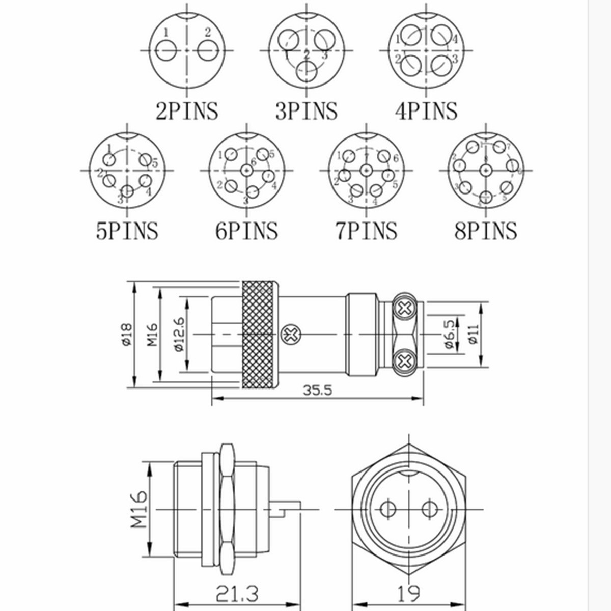 M16 2 3 4 5 6 7 8 Pin Screw Type Electrical Aviation Plug