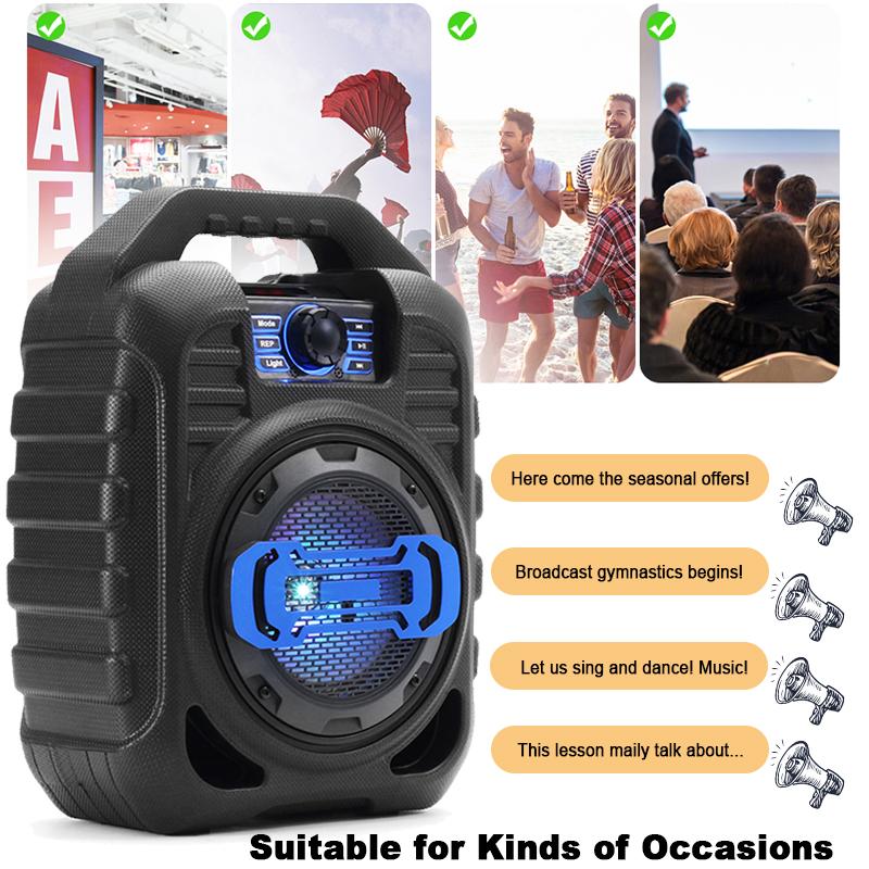Bakeey Wireless Bluetooth Speaker Kalaoke Colorful Light Stereo TF Card FM Radio Portable Speaker 9