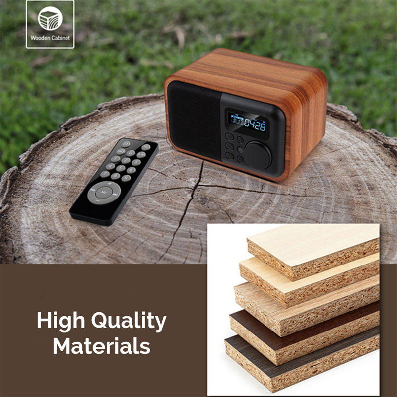 iBOX D90 Wooden Subwoofer Alarm Clock Microphone Bluetooth Speaker Support U Disk TF Card AUX 13