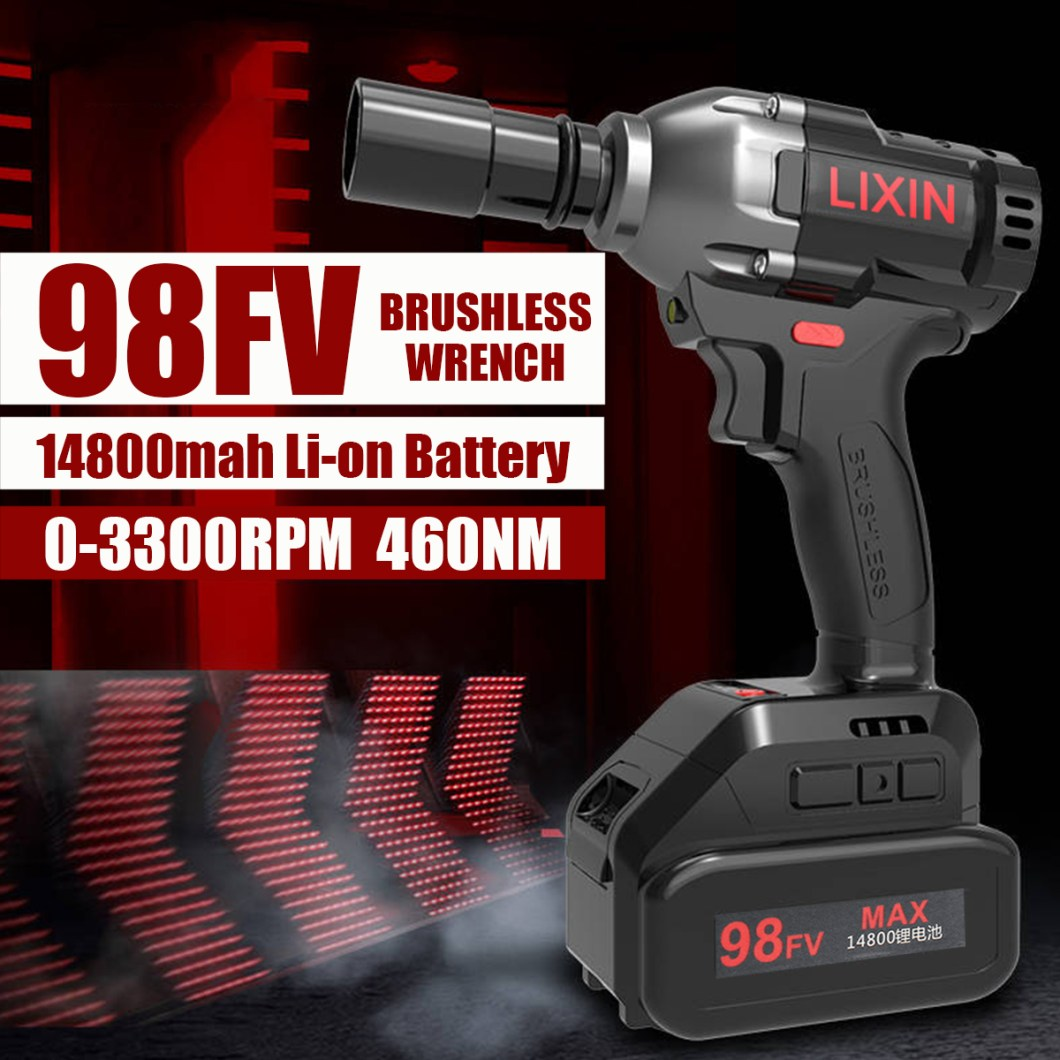 98FV 14800mAh Cordless Brushless Electric Wrench Drill LED Light W/ 1 or 2 Li-on Battery 33
