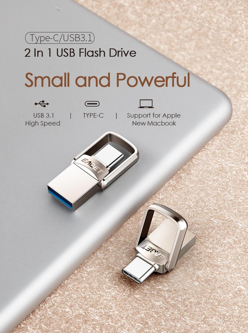 EAGET CU20 USB3.0 Type-C Pendrive USB OTG Type C 16GB 32GB 64GB Metal USB Flash Drive Dual Plug 32
