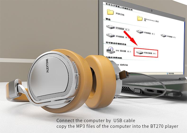 Plextone BT270 Wireless Bluetooth Headphone 800mAh 8G RAM MP3 Heavy Bass Headset for iPhone Samsung 10