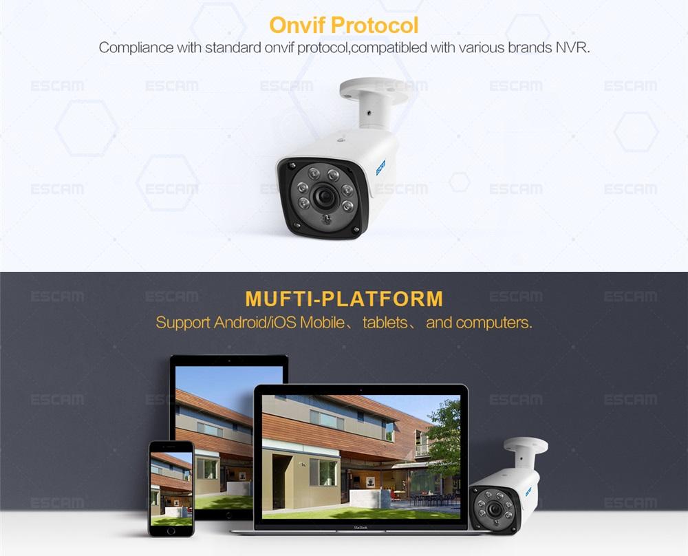 ESCAM QH002 HD 1080P IP Camera ONVIF H 265 P2P Outdoor Waterproof IR Bullet  with Smart Analysis Function Surveillance Security Camera