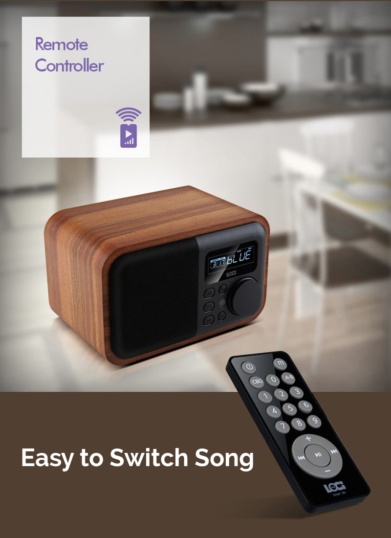 iBOX D90 Wooden Subwoofer Alarm Clock Microphone Bluetooth Speaker Support U Disk TF Card AUX 9