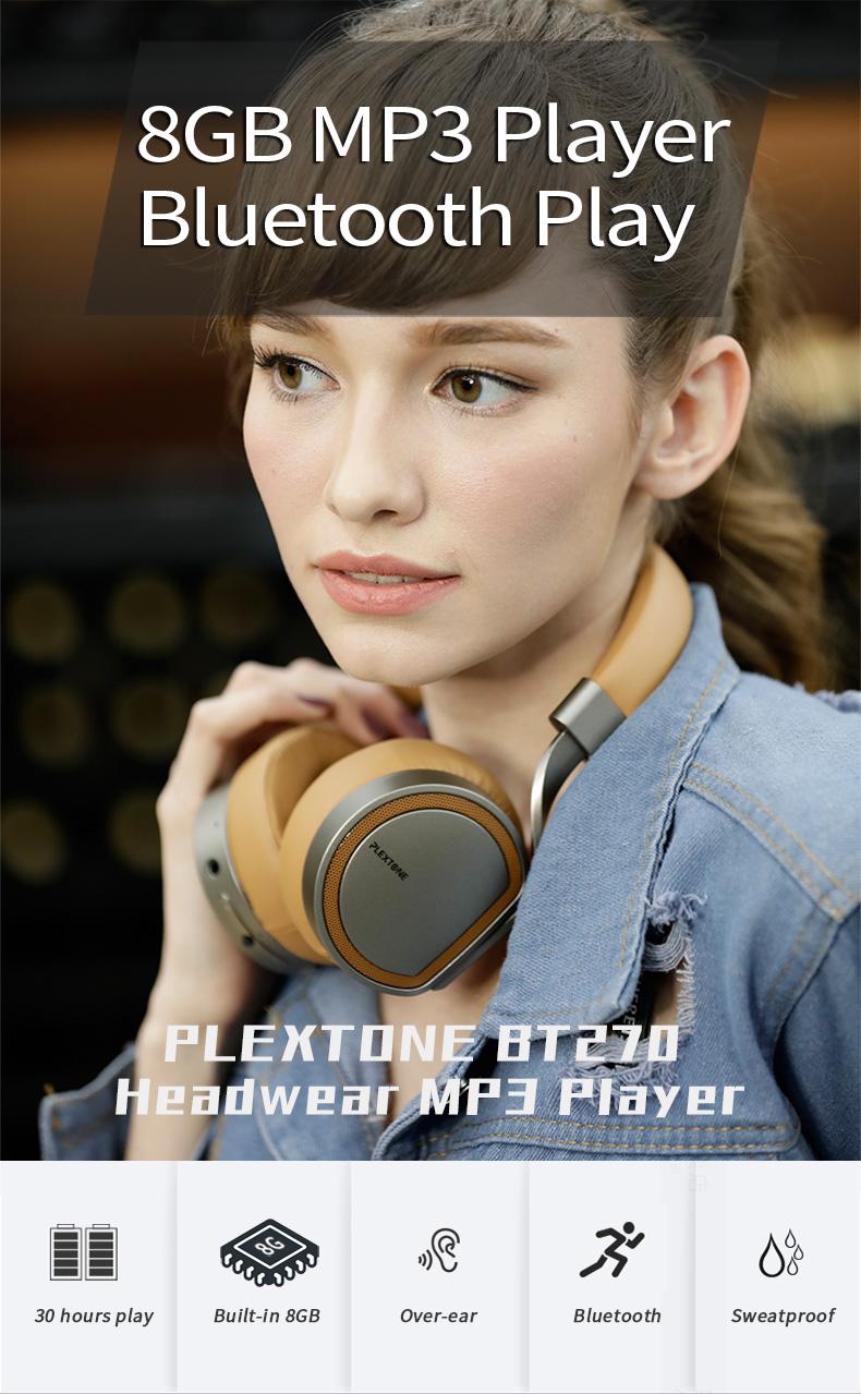 Plextone BT270 Wireless Bluetooth Headphone 800mAh 8G RAM MP3 Heavy Bass Headset for iPhone Samsung 7