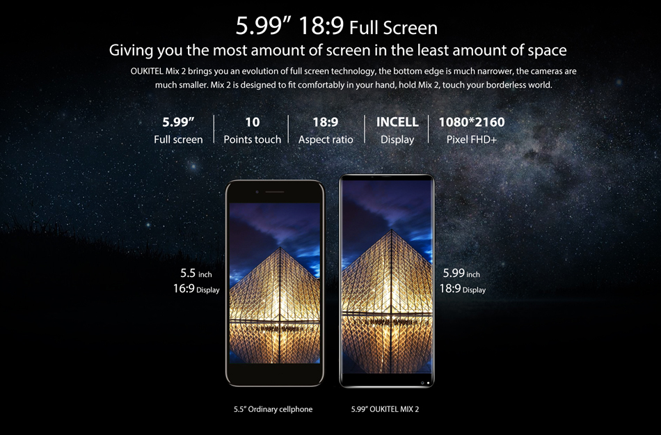 Oukitel Mix 2 5.99 inch 4080mAh 6GB RAM 64GB ROM Helio P25 Octa Core 2.39GHz 4G Smartphone