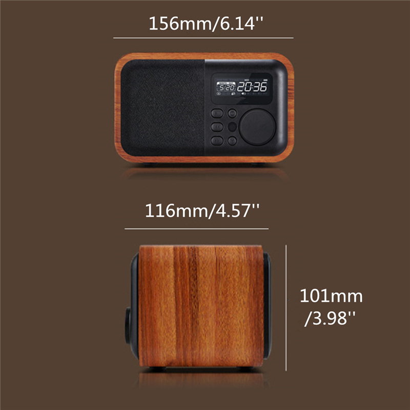 iBOX D90 Wooden Subwoofer Alarm Clock Microphone Bluetooth Speaker Support U Disk TF Card AUX 14