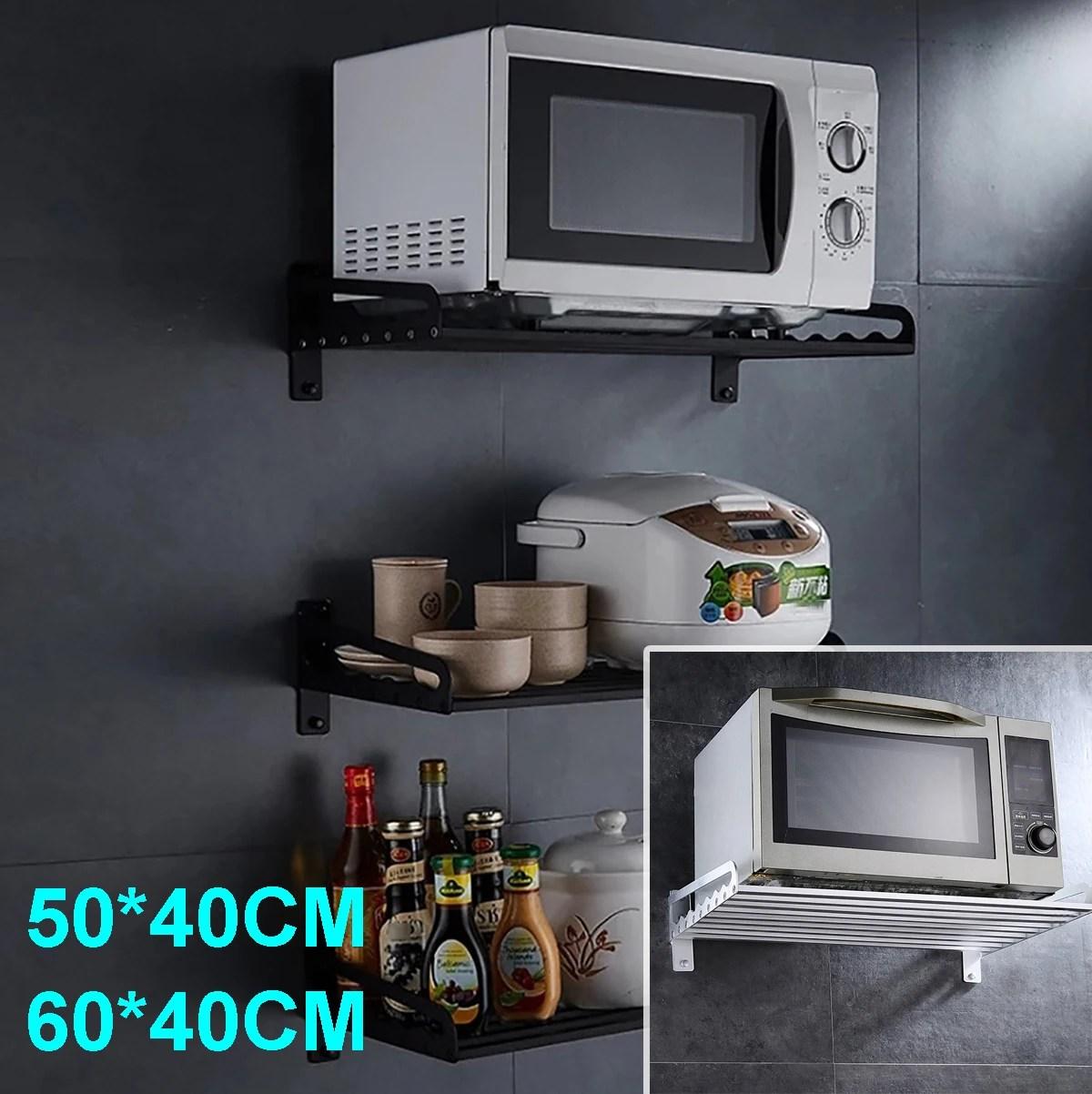 aluminum wall hanging microwave oven stand storage rack shelf kitchen bracket