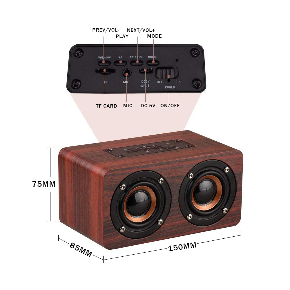 Wooden Stereo Bass Bluetooth 4.2 Speaker Audio Music Box with Mini Microphone 15