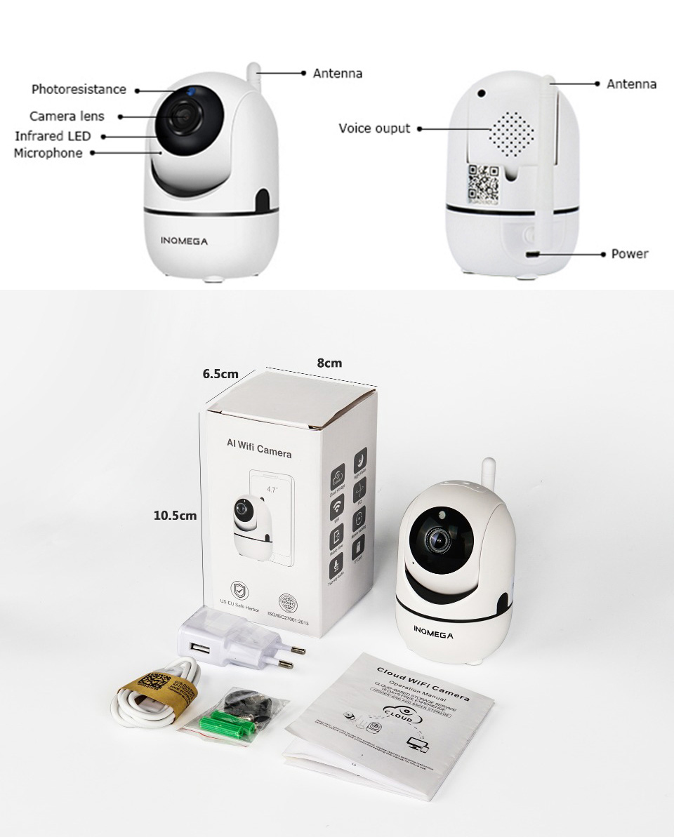 Auto Tracking AI Technoloty 1080P 720P Cloud Wireless Wifi IP Camera