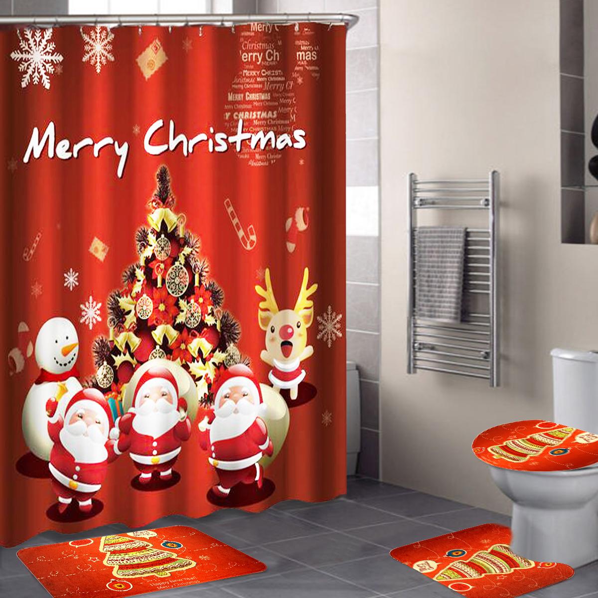 180x180cm Bathroom Shower Curtain Hook Ring Set Mildew Splash Christmas Waterproof Decor Non Slip
