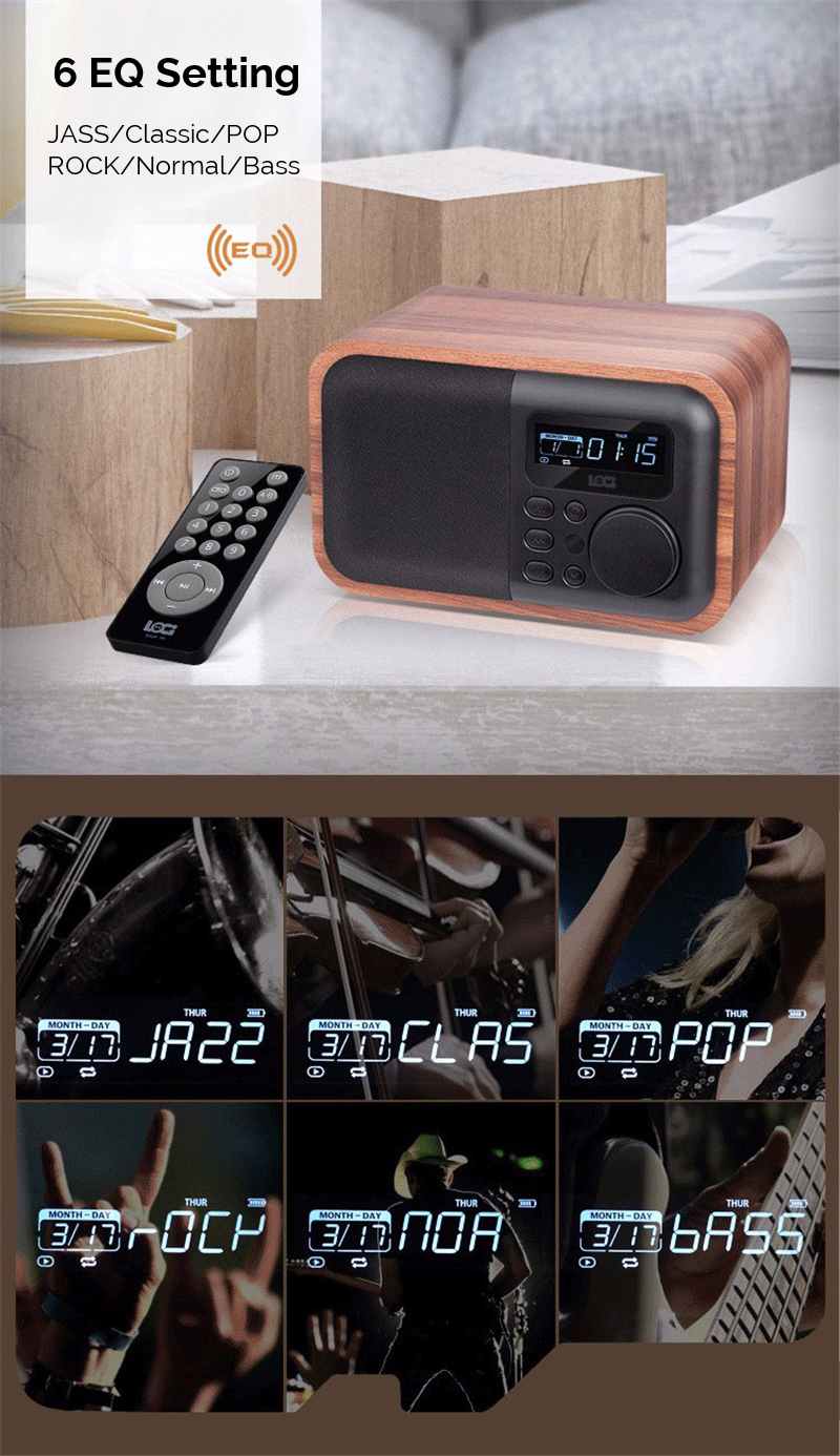 iBOX D90 Wooden Subwoofer Alarm Clock Microphone Bluetooth Speaker Support U Disk TF Card AUX 8