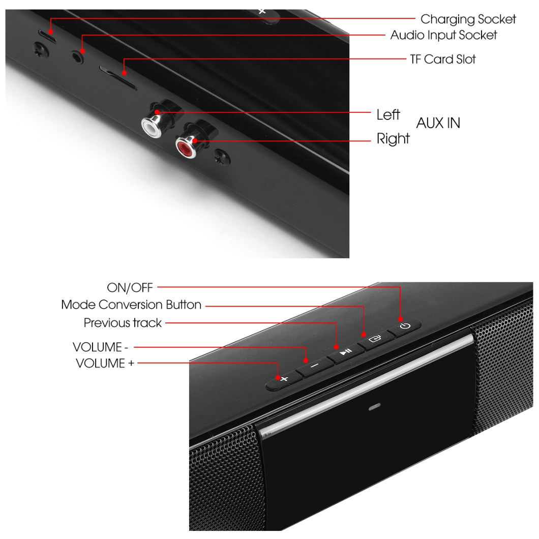 20W Wireless Bluetooth Speaker HiFi Stereo Soundbar FM Radio TF Card Aux-in Bass Speaker with Mic 13
