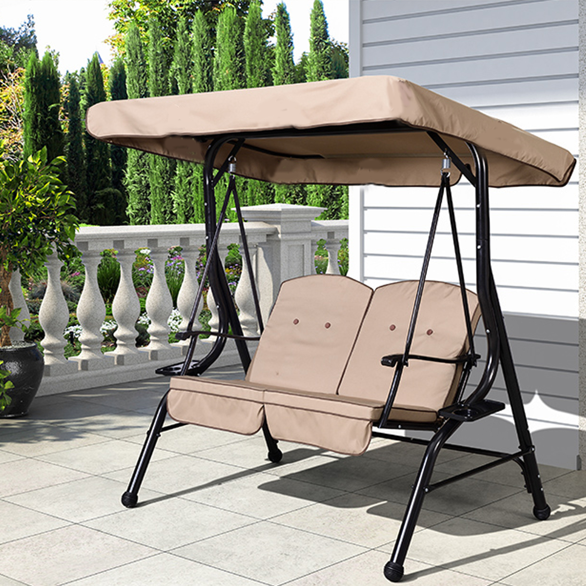 Outdoor 3 Seater Garden Swing Chair Replacement Canopy