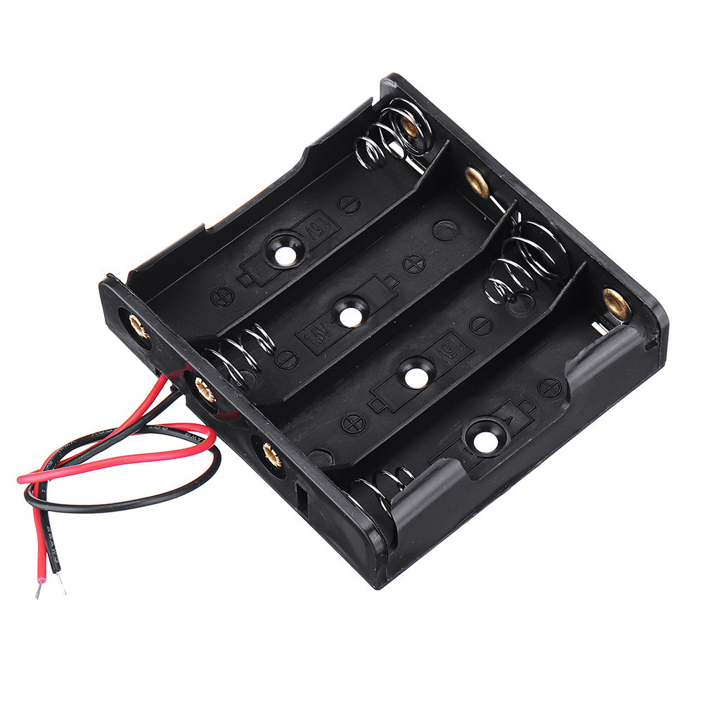 10pcs DIY 6V 4-Slot / 4 x AA Battery Holder With Leads 14