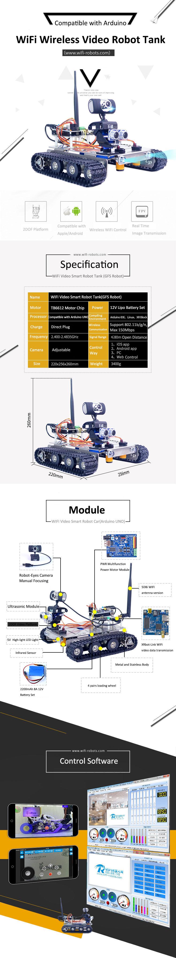 Xiao R DIY GFS WiFi Wireless Video Control Smart Robot Tank