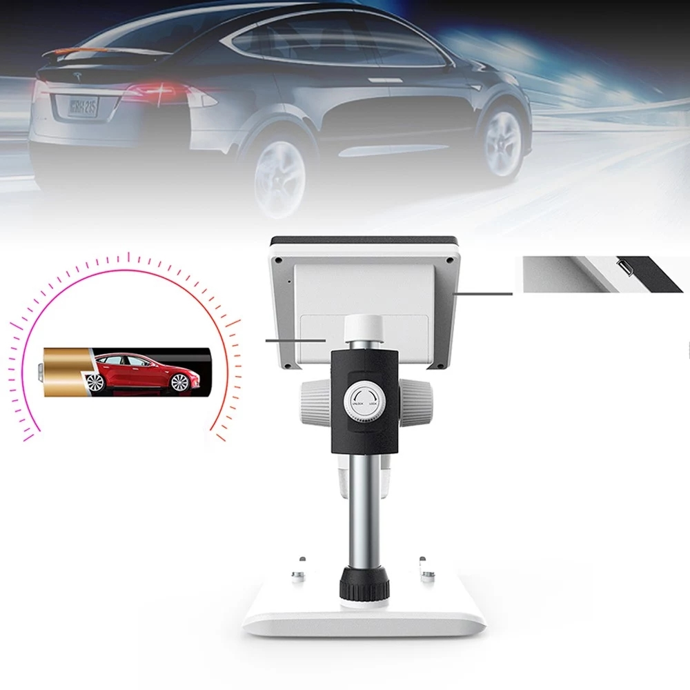 MUSTOOL G700 4.3 Inches HD 1080P Portable Desktop LCD Digital Microscope Support 10 Languages 8 Adjustable High Brightness LED With Adjustable Bracket Picture Capture Video Recording 35