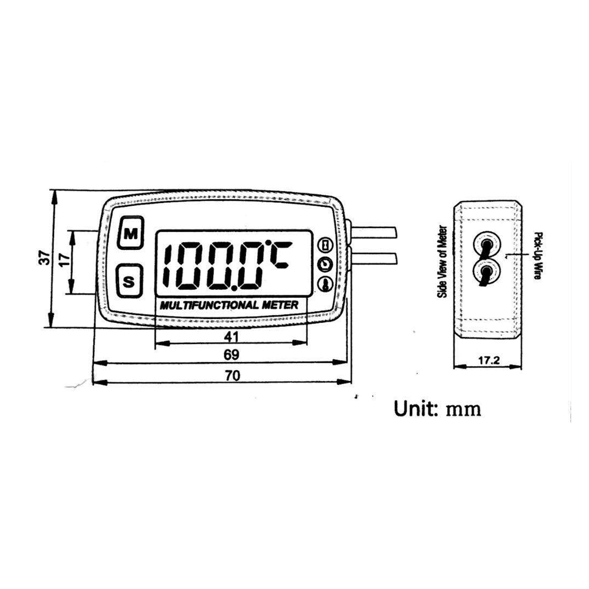 New 12v Digital Lcd Engine Multifunction Tach Hour Meter