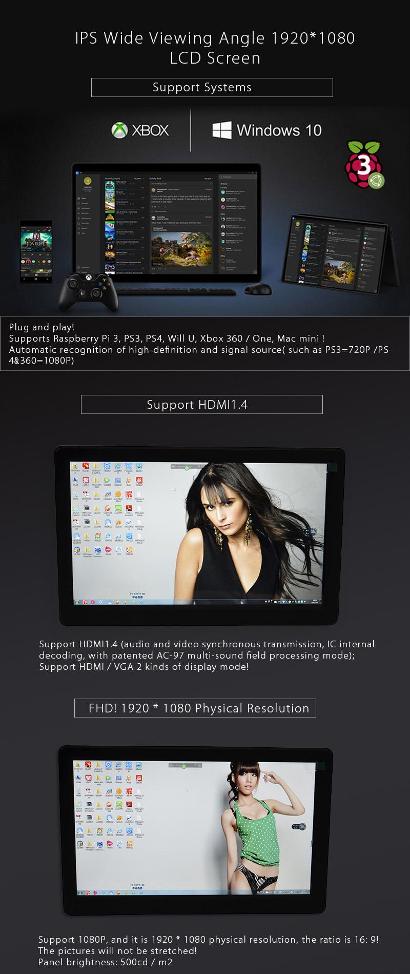10 Inch FHD 1080P Monitor