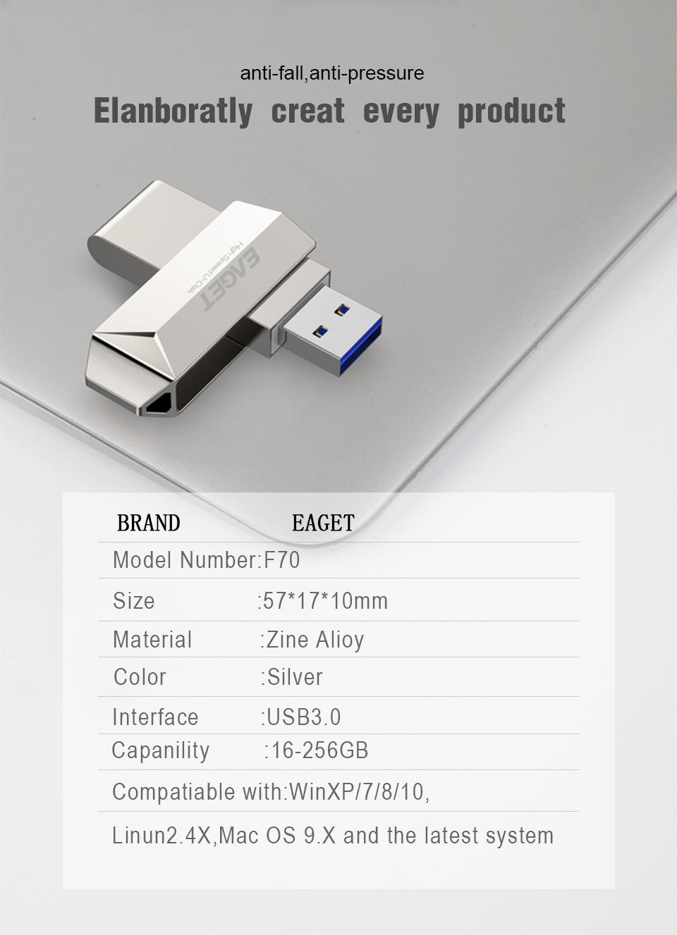 Eaget F70 USB 3.0 128GB Metal USB Flash Drive U Disk Pen Drive 360 Degree Rotation 26