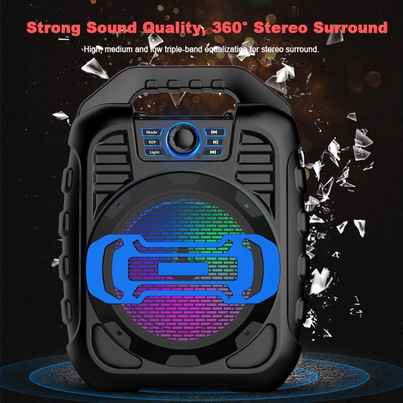 Bakeey Wireless Bluetooth Speaker Kalaoke Colorful Light Stereo TF Card FM Radio Portable Speaker 11