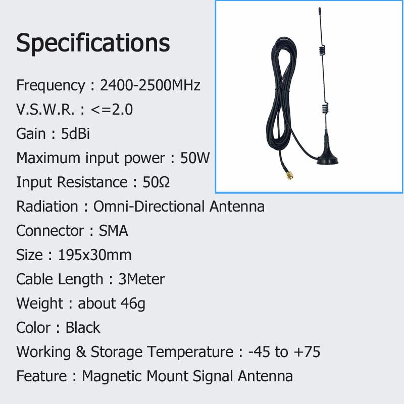 SMA 2.4 GHz 7dBi WIFI Antenna WLAN 5X Range Extender Magnetic Mount Signal Antenna 11