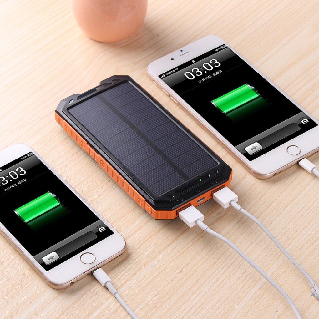 new arrival 229a5 718da 30000mah Dual USB Solar Battery Charger Universal Waterproof Solar Panel  Power Charging With LED