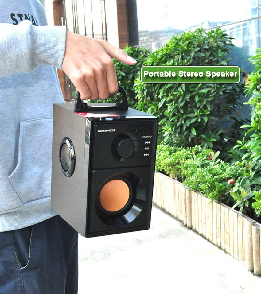 VAENSON A10 Portable Wireless Bluetooth Speaker USB Column MP3 Play FM Radio Stereo Subwoofer 15