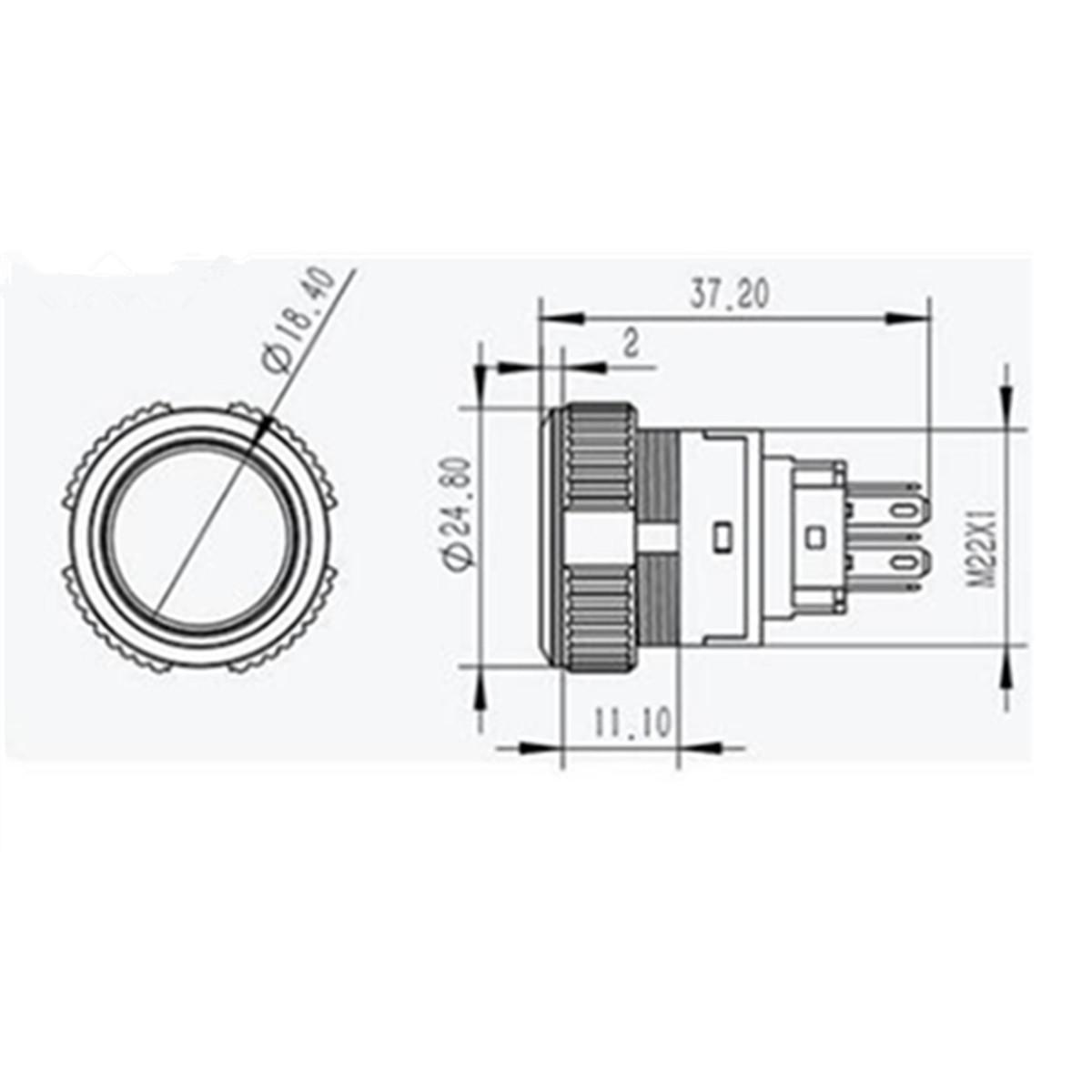 Original 12v 5 Pin Led Push Button Switch Plastic Lamp Car