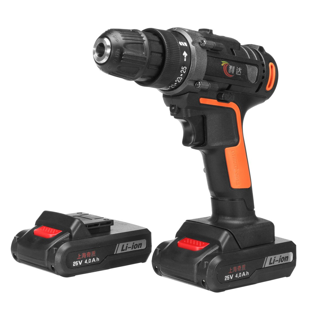 25V 4000mAh Cordless Rechargeable Power Drill Driver Electric Screwdriver with 2 Li-ion Batteries 35