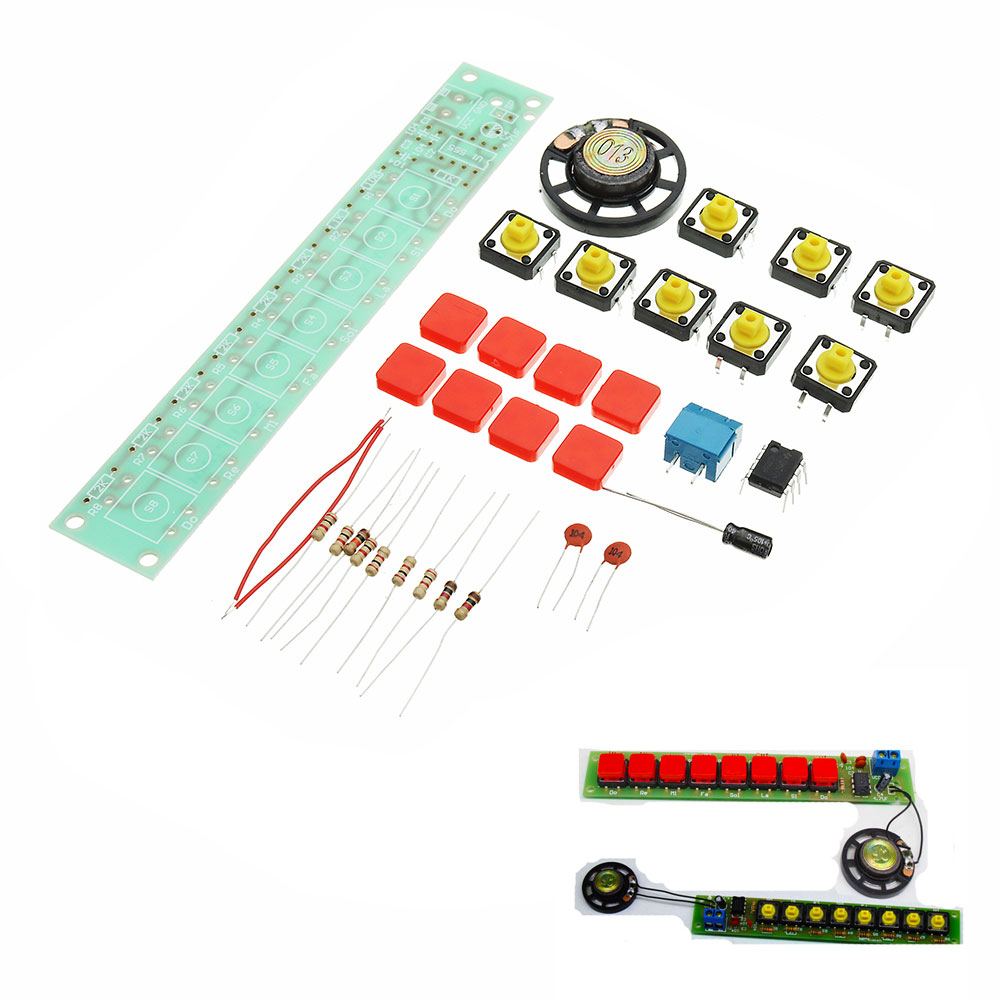 5pcs DIY NE555 Electronic Piano Organ Keyboard Module Kits With Battery Box And Button Cap Parts 9
