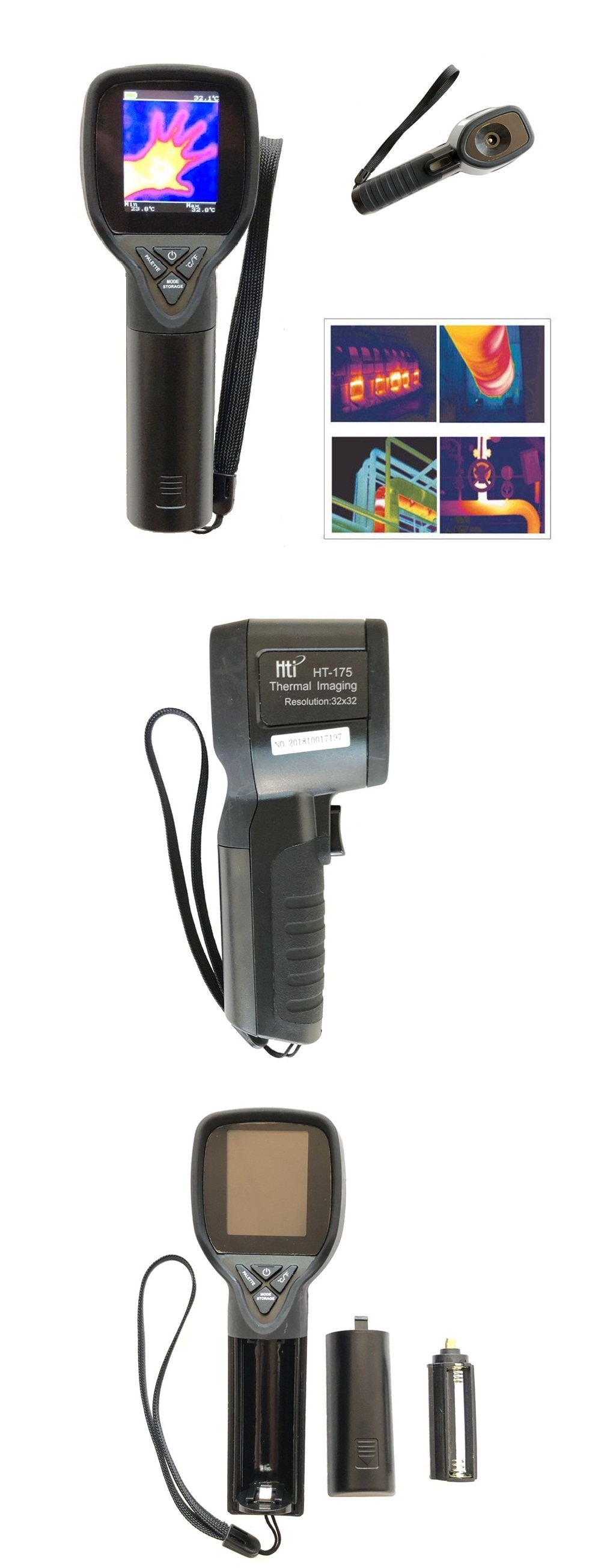 HT-175 Infrared Thermal Imaging Camera Digital Thermal Imager -20~300℃ 1024P 32x32 IR Image Resolution 33