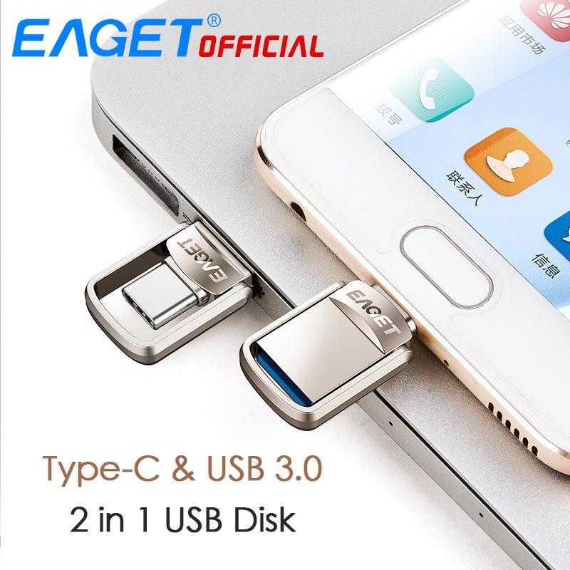 EAGET CU20 USB3.0 Type-C Pendrive USB OTG Type C 16GB 32GB 64GB Metal USB Flash Drive Dual Plug 25