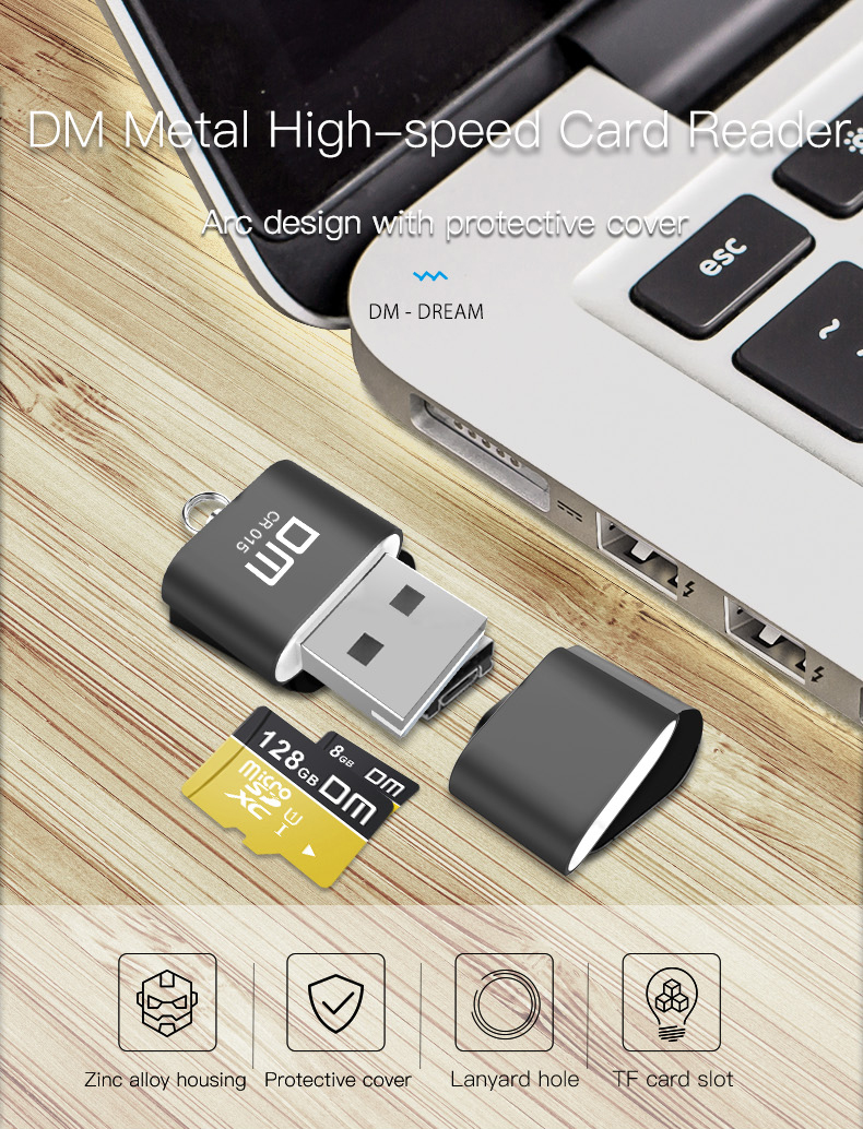 DM CR015 USB 2.0 Aluminum Alloy Mini TF Card Reader for Computer / Car 21