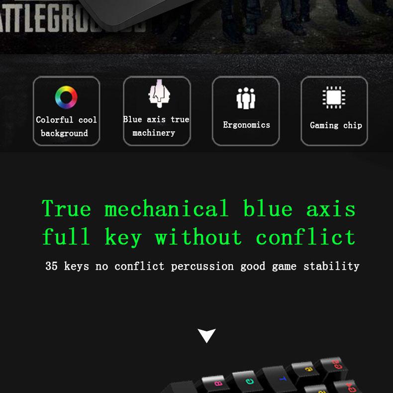 HXSJ J100 One Hand 35keys Blue Switch Mechanical Keyboard 7