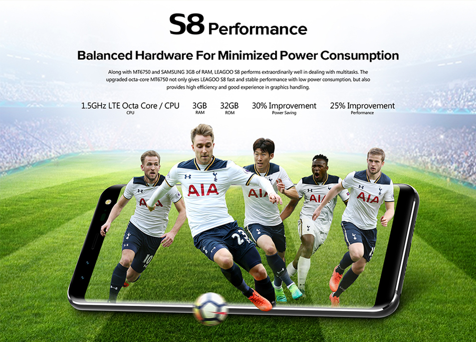 LEAGOO S8 5.72 Inch Dual Front & Rear Camera 3GB RAM 32GB ROM MT6750T 1.5GHz Octa Core 4G Smartphone