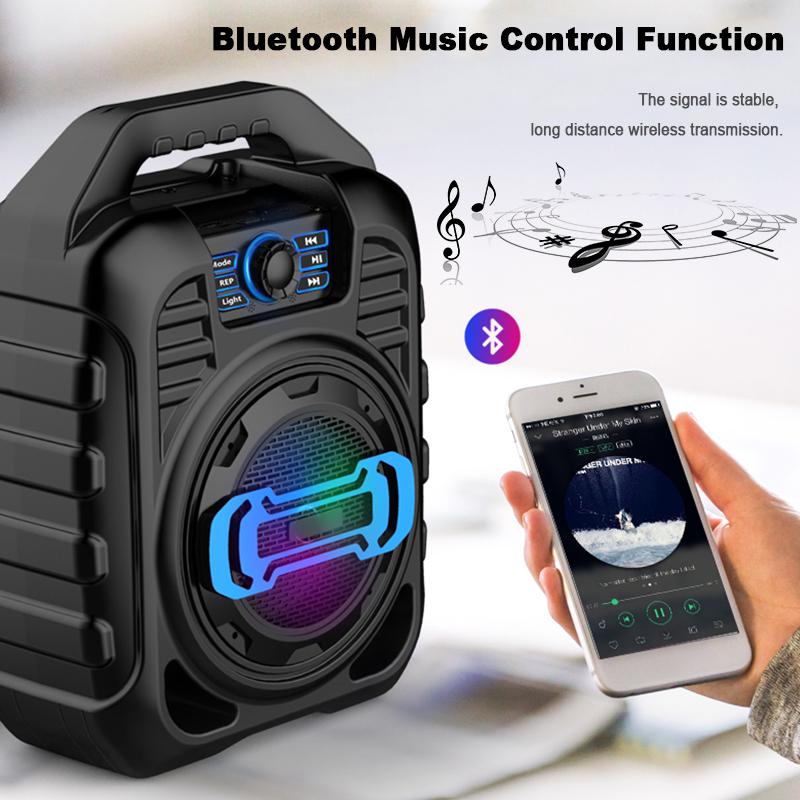 Bakeey Wireless Bluetooth Speaker Kalaoke Colorful Light Stereo TF Card FM Radio Portable Speaker 13