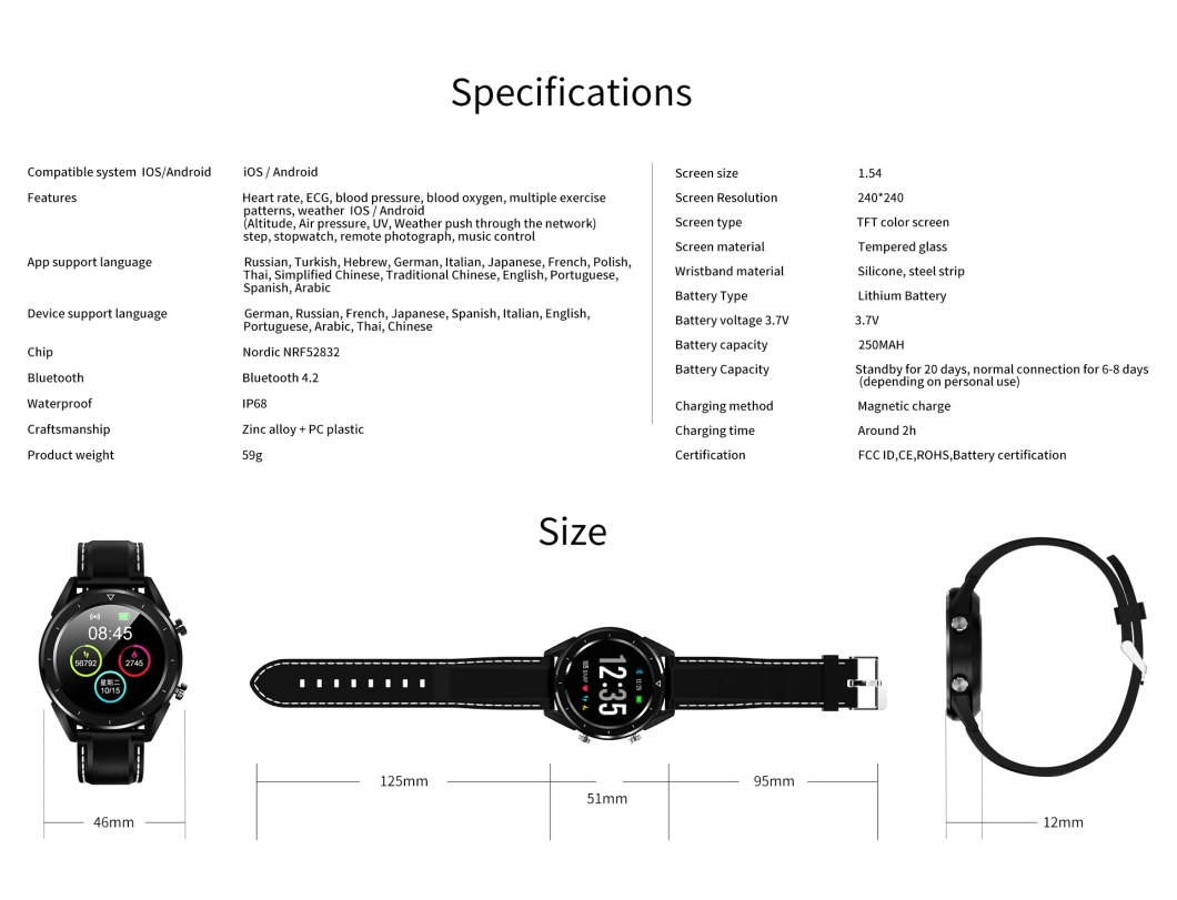 DT NO.1 DT28 1.54 Big Display Smart Watch ECG Monitor HR Blood Pressure Mobile Payment Watch 43