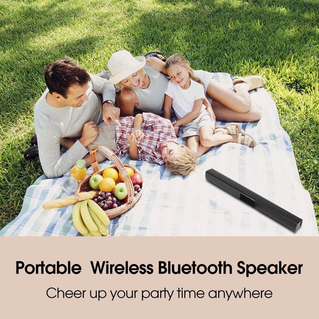 20W Wireless Bluetooth Speaker HiFi Stereo Soundbar FM Radio TF Card Aux-in Bass Speaker with Mic 11