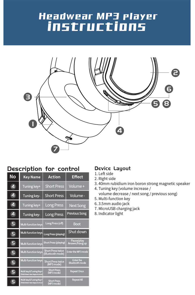 Plextone BT270 Wireless Bluetooth Headphone 800mAh 8G RAM MP3 Heavy Bass Headset for iPhone Samsung 19