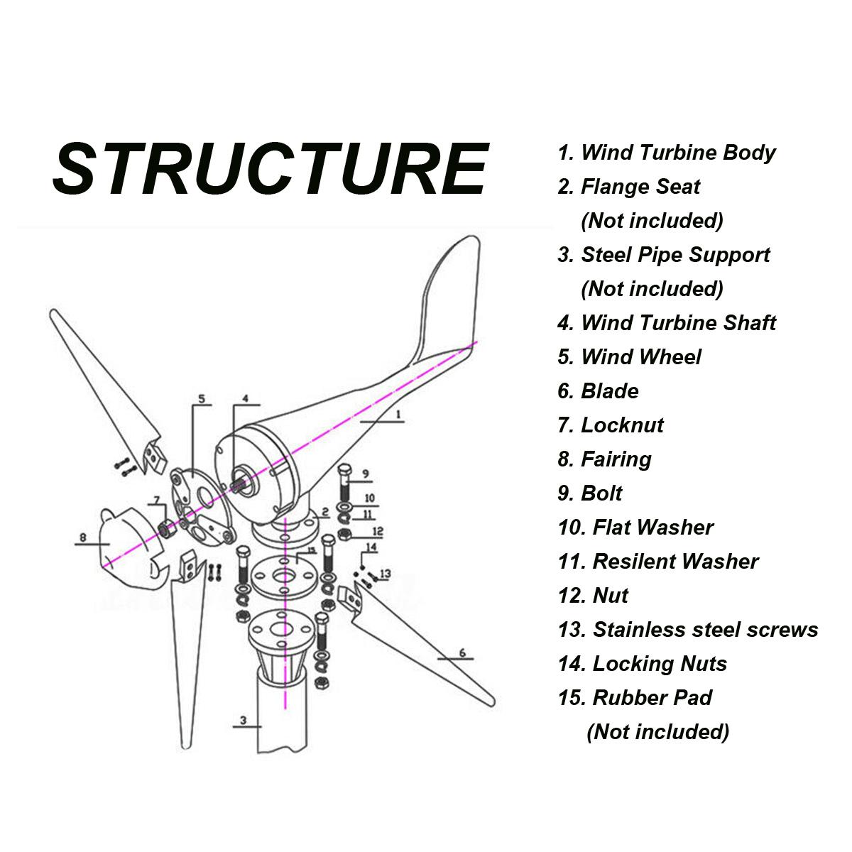 Original S2 550w 3 Blades Dc 12v 24v Wind Turbine