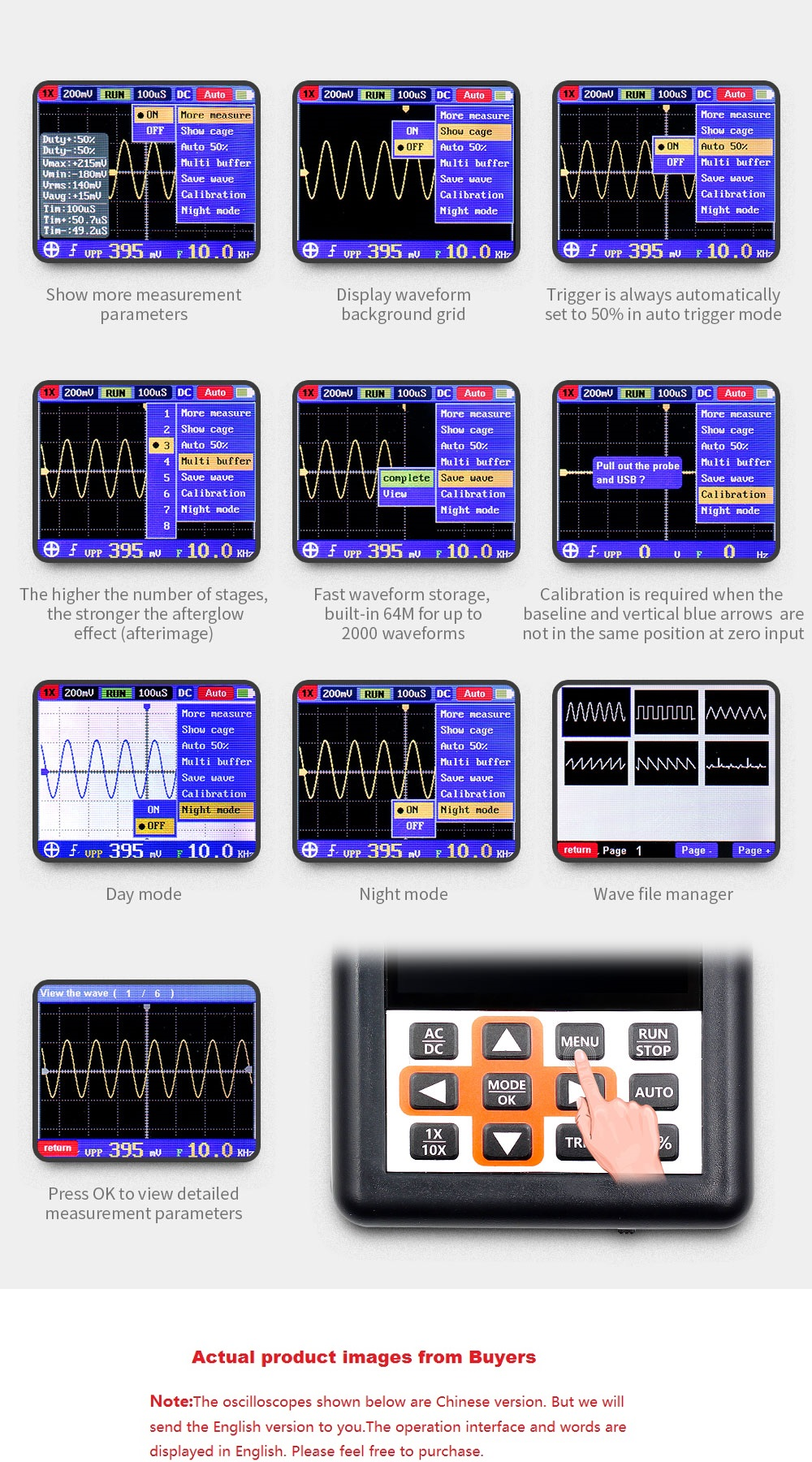 DSO338 Handheld Oscilloscope 30MHz Bandwidth 200M Sampling Rate 2.4 Inch IPS Screen 320*240 Resolution Technology Built-in 64M Storage  Built-in 3000mah Lithium Battery 41