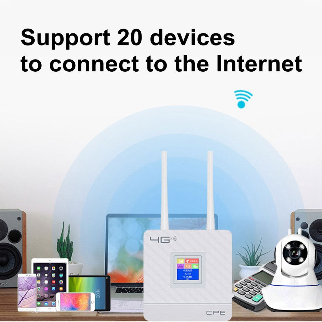 2.4G 4G LTE Wifi Router CPE Router Support for 20 Users with SIM Card Slot Wirelss Wired Router 29