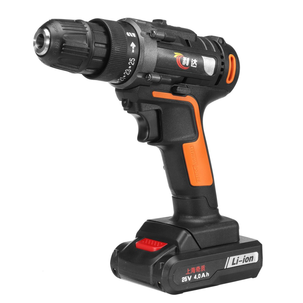 25V 4000mAh Cordless Rechargeable Power Drill Driver Electric Screwdriver with 2 Li-ion Batteries 36