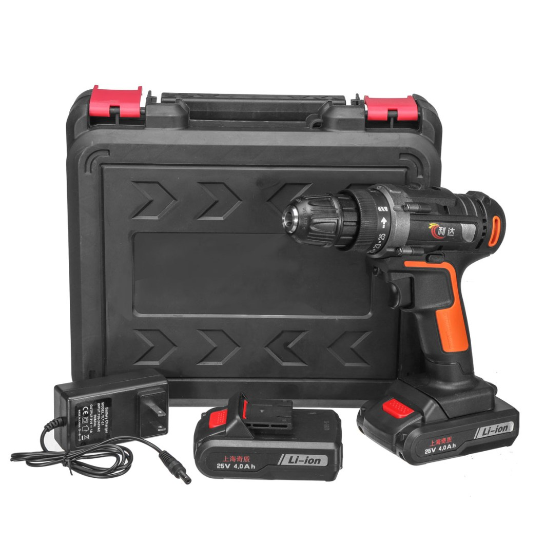 25V 4000mAh Cordless Rechargeable Power Drill Driver Electric Screwdriver with 2 Li-ion Batteries 33