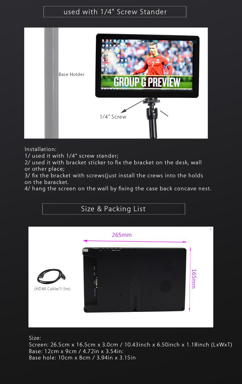 10 Inch FHD 1080P Monitor 1920x1080 IPS Screen w/ Case For Raspberry Pi / PS3 / PS4 / WiiU / Xbox360 6